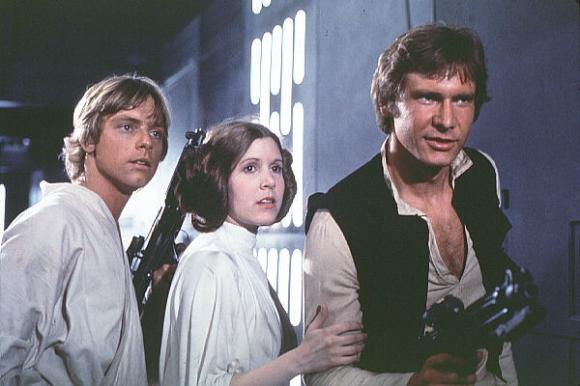 1977년 개봉한 '스타워즈: 새로운 희망'의 주인공들. 왼쪽부터 루크 스카이워커(마크 해밀), 레아 공주(캐리 피셔), 한 솔로(해리슨 포드).