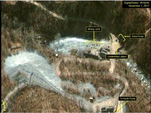 풍계리 핵시험장 서쪽 갱도 지역.  디지털글로브/38노스 제공=연합뉴스