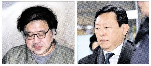 14일 최순실씨와 함께 재판을 받은 안종범(왼쪽) 전 청와대 정책조정수석과 신동빈(오른쪽) 롯데그룹 회장.  도준석 기자 pado@seoul.co.kr