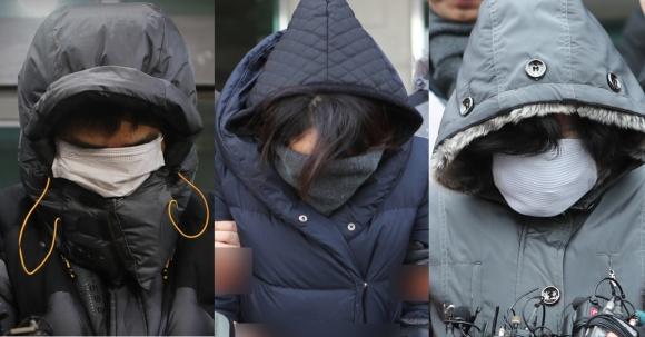 고준희(5)양 친부인 고모(37)씨와 내연녀 이모(36)씨, 그리고 내연녀의 어머니인 김모(61)씨.  연합뉴스
