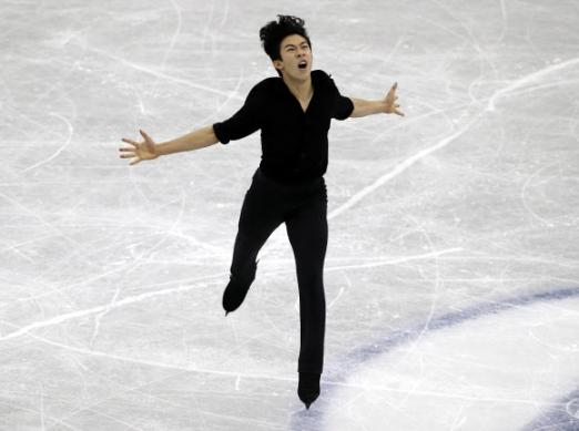 미국 남자 피겨스케이팅의 네이선 천이 지난해 12월 일본 나고야에서 열린 그랑프리 파이널 쇼트프로그램에서 역동적인 연기를 펼치고 있다.  나고야 AP 연합뉴스