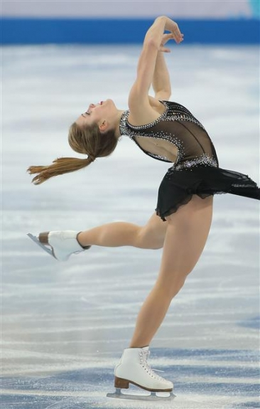 미국 여자 피겨의 애슐리 와그너가 2014년 소치동계올림픽 쇼트프로그램에서 화려한 스핀 연기를 선보이고 있다.  소치 연합뉴스