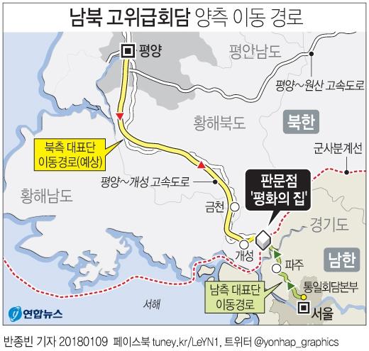 북 고위급 이동경로. 연합뉴스