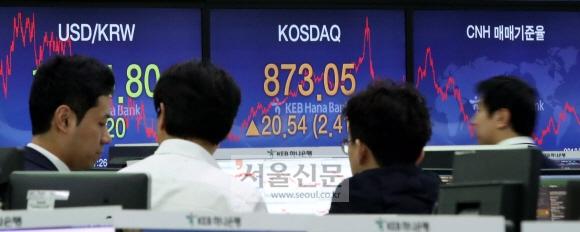 코스닥 2.41% 올라  코스닥 지수가 급등하면서 2009년 이후 처음으로 사이드카(프로그램 매매 호가 효력 정지)가 발동된 12일 서울 을지로 KEB하나은행 본점 딜링룸에서 직원들이 장 마감 직후 상황판을 보고 있다. 도준석 기자 pado@seoul.co.kr