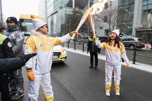 서울 도착한 평창동계올림픽 성화