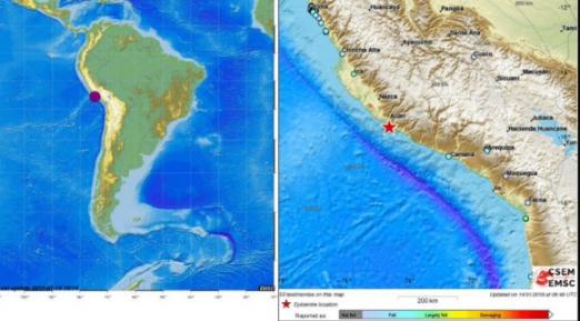 페루 리마 남동쪽 규모 7.1 강진 14일 오전 9시 18분(세계표준시 UTC 기준)께 페루의 수도 리마에서 남동쪽으로 438 떨어진 곳에서 규모 7.1의 지진이 발생했다고 유럽지중해지진센터(EMSC)가 밝혔다. 진원의 깊이는 10?다. 지진으로 인한 피해는 아직 알려지지 않았다. 2018.1.14  [유럽지중해지진센터 홈페이지 캡처=연합뉴스]
