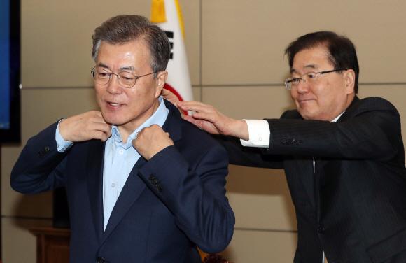 Image result for 문재인 정의용