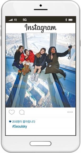 알리미들이 롯데월드타워의 스카이 데크에서 기념사진을 찍고 있다.  한국방문위원회 제공