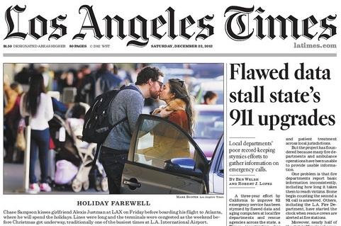 지난 2012년 4월 현장 도착에 관련한 LA 소방당국의 과장 보고를 머릿기사로 올린 LA 타임스. [LA 타임스 홈페이지 캡처]