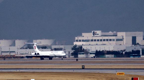 북 고위급 대표단 전용기, 인천공항 도착
