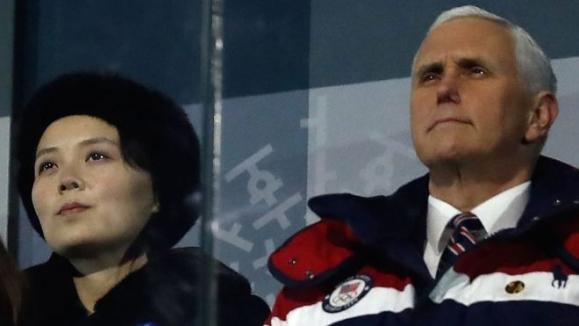 평창동계올림픽 개회식에서는 김여정과 마이크 펜스 미국 부통령이 나란히 앉아 있었다. 평창 AFP 연합뉴스