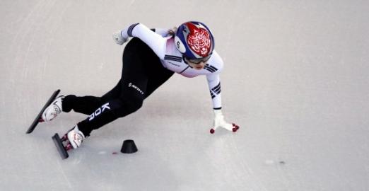 최민정이 13일 평창동계올림픽 여자쇼트트랙 500m 준결선에서 힘차게 코너를 돌고 있다.강릉 박지환 기자 popocar@seoul.co.kr
