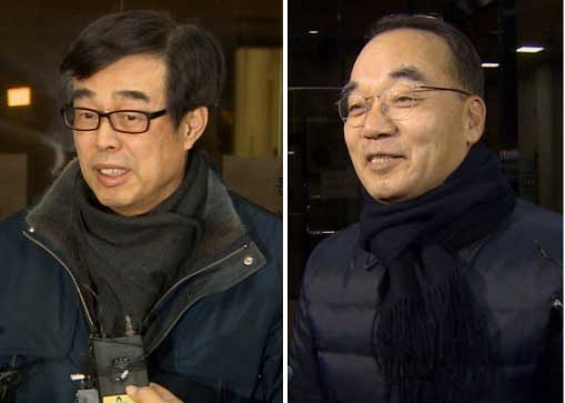 장다사로 전 청와대 총무기획관(왼쪽)-박재완 전 기획재정부 장관. 연합뉴스