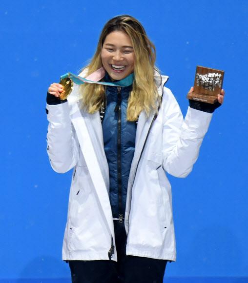 [올림픽] 클로이 김 '금메달 걸었어요'