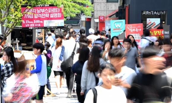 취업 준비에 여념 없는 2030...행복감 낮아 서울에 거주하고 있는 2030세대 가운데 한창 구직을 준비하고 있는 25∼29세의 행복감은 가장 낮은 것으로 조사됐다. 사진은 지난해 5월 서울 동작구 노량진 학원가에서 발길을 분주히 옮기고 있는 공무원 시험 준비생들. 서울신문 DB
