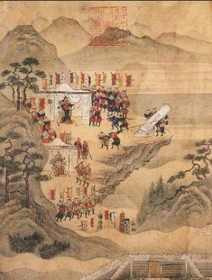 고려의 척경입비도(고려대 박물관 소장), 17세기경에 그린 것으로 추정되는데 윤관 장군이 공험진 선춘령에 '고려지경'이라는 비석을 세우는 장면을 그린 것이다.