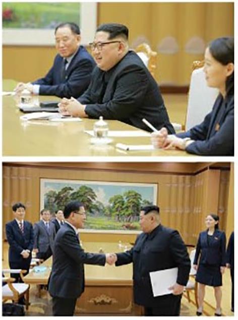 대북특사단 만난 김정은 '김여정 배석'