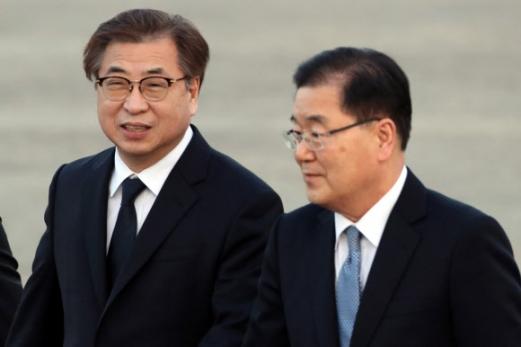 정의용 국가안보실장과 서훈 국정원장. 사진공동취재단