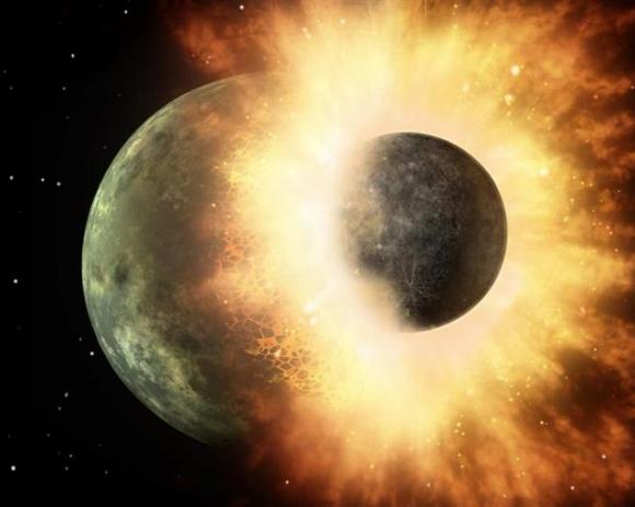 지구와 테이아가 충돌하는 가상 그래픽. 미 항공우주국(NASA) 제공