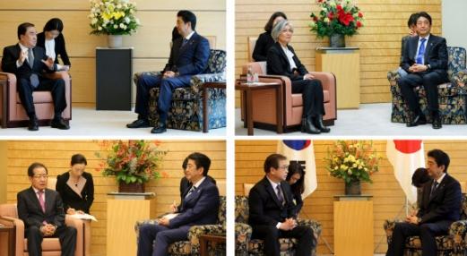 작년 5월 문재인 대통령의 특사로 파견된 문희상 의원(위 왼쪽), 그리고 작년 12월 강경화 외교부 장관(위 오른쪽), 홍준표 자유한국당 대표(아래 왼쪽) 등이 이곳을 각각 찾았을 때 앉았던 의자는 아베 총리가 앉았던 의자보다 낮았다.   AP EPA 연합뉴스 자료사진