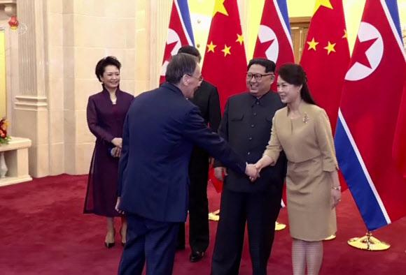 리설주와 악수하는 중국 왕치산 국가부주석