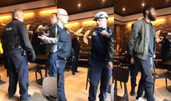 스타벅스 인종차별 논란 (사진 왼쪽부터) 경찰에게 항의하는 백인 시민, 흑인 남성들을 체포하는 백인 경찰들, 경찰에게 수갑이 채워진 채 매장을 빠져나가는 흑인 남성들. 트위터 사용자 'Melissa DePino'
