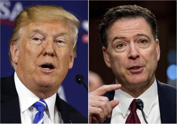 도널드 트럼프(왼쪽) 미국 대통령과 제임스 코미 전 연방수사국(FBI) 국장. AP 연합뉴스
