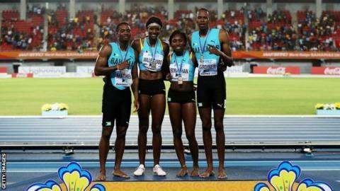 지난해 세계릴레이선수권대회 혼성 1600m 계주 우승을 차지한 바하마 대표팀. AFP 자료사진