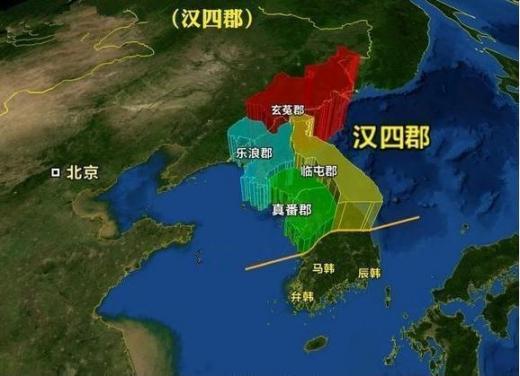 낙랑군 조선현 한현도의 무덤을 보도하는 중국 매체에서 그린 한사군의 강역. 전라도~경상도 일부를 제외하고 모두 중국 강역으로 그려 놓았다.