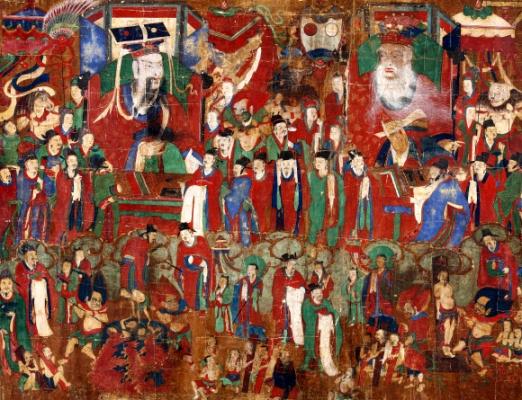 美 경매 나온 18세기 불화 '봉은사 시왕도' 귀환 1950~60년대 외국에 유출된 것으로 추정되는 18세기 불화 '봉은사 시왕도' 한 점이 국내로 돌아왔다. 최근 미국 경매에 출품된 봉은사 시왕도를 낙찰받은 대한불교조계종은 16일 서울 종로구 한국불교역사문화기념관에서 불화의 실물을 공개했다. 시왕도는 저승 세계를 관장하는 왕 10명이 재판을 하는 광경과 지옥에서 고통받는 망자를 그린 불화다. 이번에 돌아온 봉은사 시왕도는 원래 네 폭에 나누어 그려진 시왕도 중 한 폭이다. 나머지 세 폭 중 6명의 대왕이 그려진 두 폭은 동국대 박물관에, 대왕 2명이 그려진 다른 한 폭은 국립중앙박물관에 있다. 대왕 2명이 그려진 마지막 한 폭이 돌아오면서 10명의 대왕이 온전히 갖추어졌다. 연합뉴스