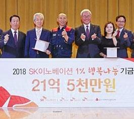 김준(왼쪽 네 번째) SK이노베이션 총괄사장과 이정묵(세 번째) SK이노베이션 노조위원장이 16일 울산CLX에서 21억 5000만원의 지원금을 전달한 뒤 손가락으로 하트 모양을 그리고 있다. SK이노베이션 제공