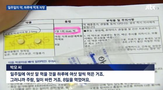 이대목동병원 일주일치 약, 하루에 먹게 처방 JTBC 뉴스룸 방송화면 캡처