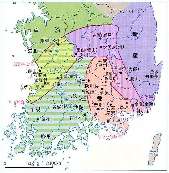 일본 소학관에서 발행하는 '일본대백과전서'에 실린 임나지도. 370년경의 임나가 충청, 전라, 경상도까지 차지한 제국으로 그려져 있다.