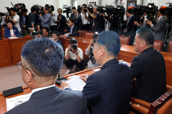 짧고 파란색 머리의 민주당 의원들