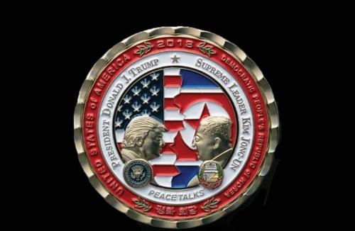 12일 공개된 북미정상회담 기념주화 앞면  백악관 기념품 판매 사이트 캡처