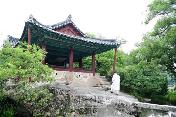 경북 봉화 달실마을의 청암정 전경. 거북이 등 모양의 바위 위에 정자가 올라 서 있는 모습이다.