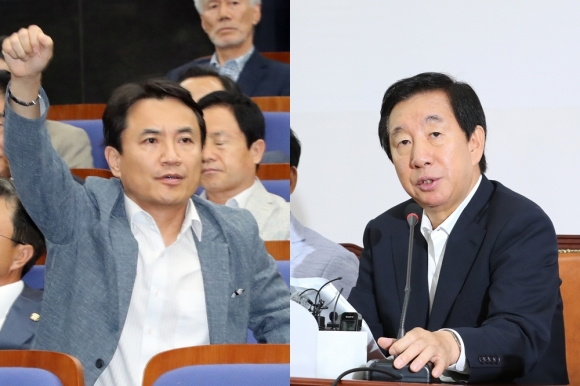 김진태 자유한국당 의원과 김성태 자유한국당 대표 권한대행  연합뉴스