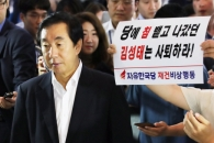 [서울포토] 김성태 바로 옆에 들이 댄 '사퇴 메시지'…