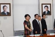 [서울포토]민주평화당에 내걸린 김대중 노무현 전대통…