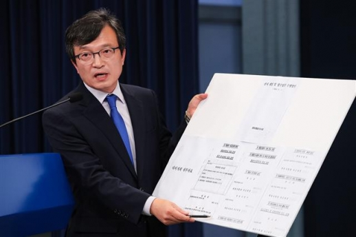 계엄 문건 세부안을 브리핑하는 김의겸 청와대 대변인.  연합뉴스