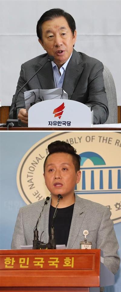 김성태(위) 자유한국당 원내대표는 계엄 문건을 폭로한 임태훈(아래) 군인권센터 소장을 향해 '성소수자' 발언을 하면서 논란을 불렀다.  연합뉴스