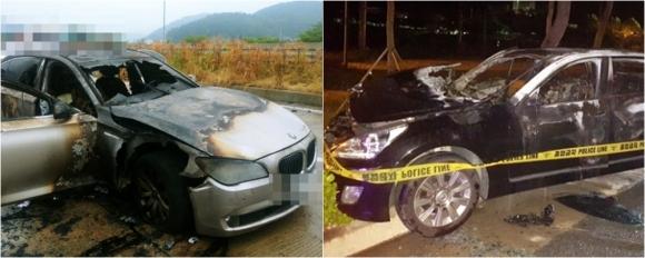 불탄 BMW와 에쿠스 9일 오전 7시 50분쯤 경남 사천 남해고속도로에서 주행중인 BMW 730Ld에서 불이 났다. 불은 차체 전부를 태우고 수 분 만에 꺼졌다.(왼쪽) 같은 날 새벽 경북 상주 25번 국도에서 서행하던 에쿠스 승용차에서 불이 나 1명이 숨지고 1명이 다쳤다. 2018.8.9 경남경찰청·상주소방서 제공 연합뉴스