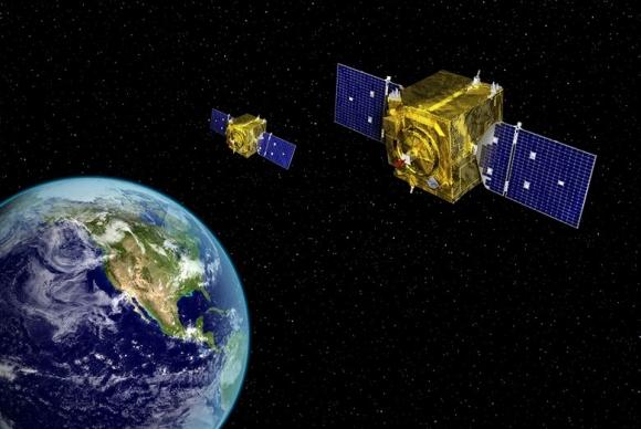 우주에서 지구를 감시하는 미국 정찰위성의 개념도  미 공군 우주사령부 홈페이지 캡쳐