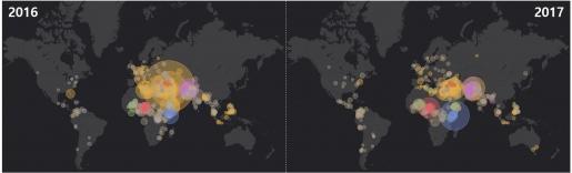 왼편의 2016년 테러발생 현황과 오른편의 2017년 테러발생 현황을 비교할 때 중동의 테러 발생 집중도가 감소하고 여러 지역으로 분산되는 것을 알 수 있다. <자료: ESRI 스토리맵>