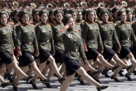 [포토] 정권수립 70주년 기념식의 북한 여군들