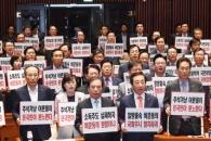 [서울포토] 한국당, 판문점 선언 일방적 국회 비준 반…