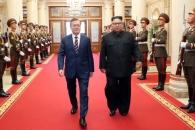 [서울포토] 조선노동당 본부 청사로 입장하는 남북정상…