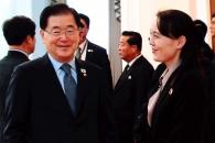 [포토] 남북 정상회담 이틀째…밝은 표정으로 마주한 …