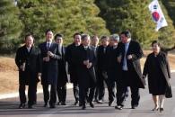 [서울포토] 문재인 대통령, 기업인들과 산책