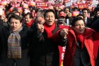[포토] '김경수 규탄대회' 참석한 한국당 대표 후보…